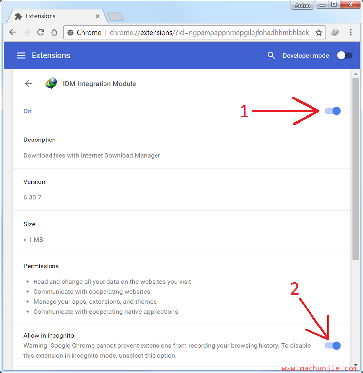 [mcj]IDM重新安装chrome插件 IDM谷歌插件